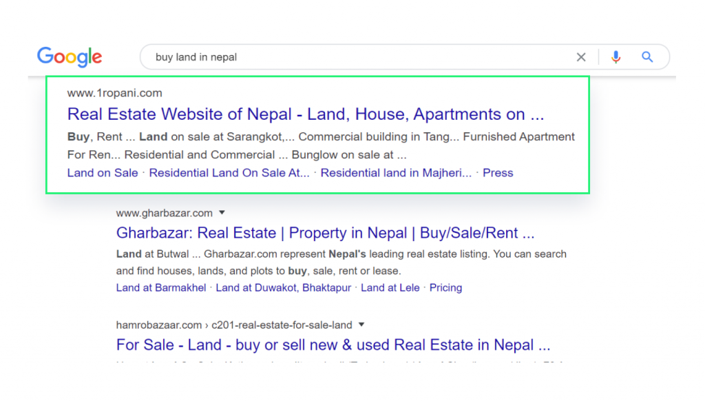 Google Search Result Page for Buy Land in Nepal