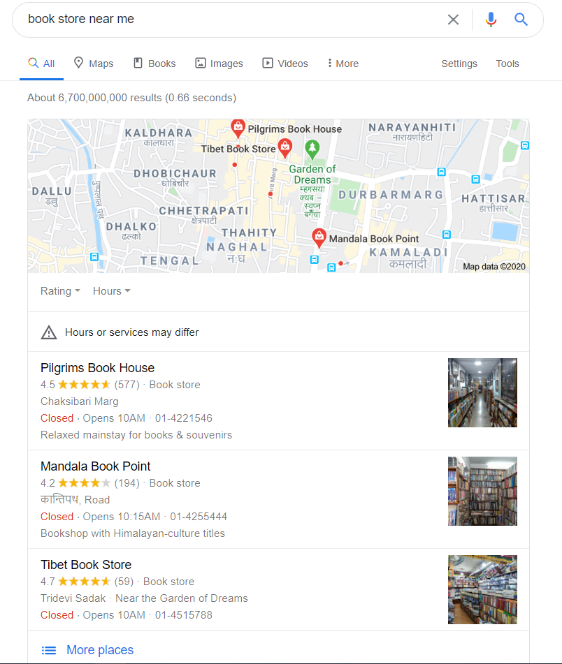 Google My Business Listing For the query book store near me