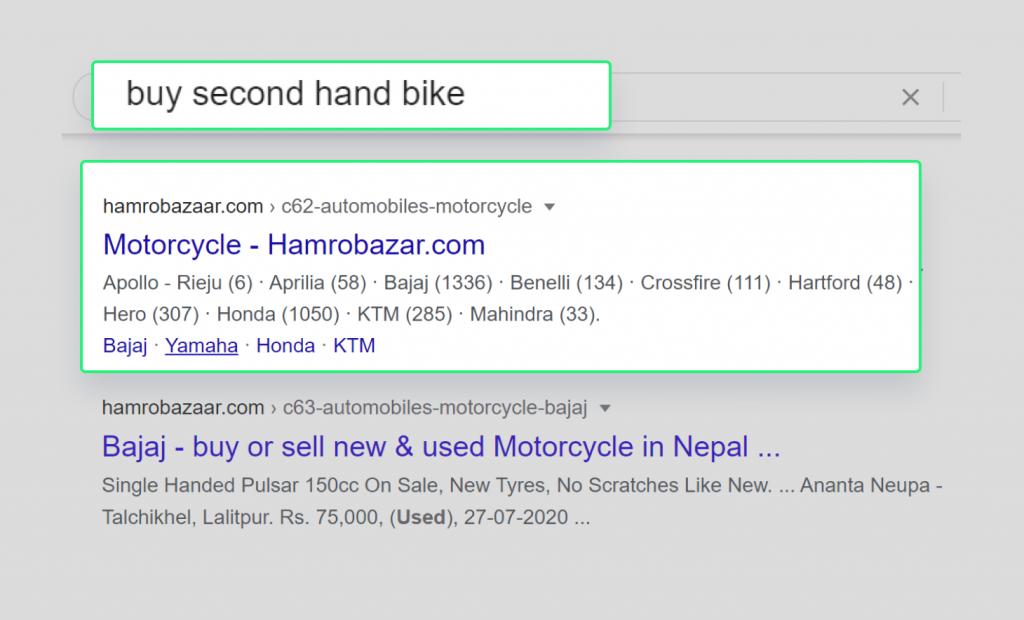 Hamrobazar showing first for keyword buy second hand bike