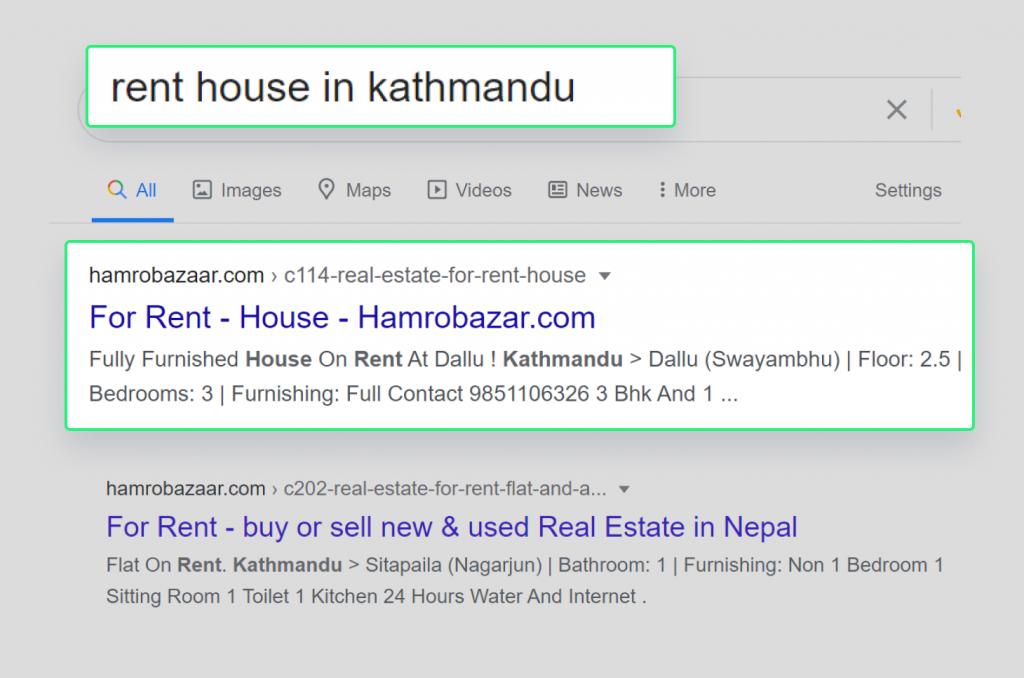 Hamrobazar ranking for keyword rent house in kathmandu