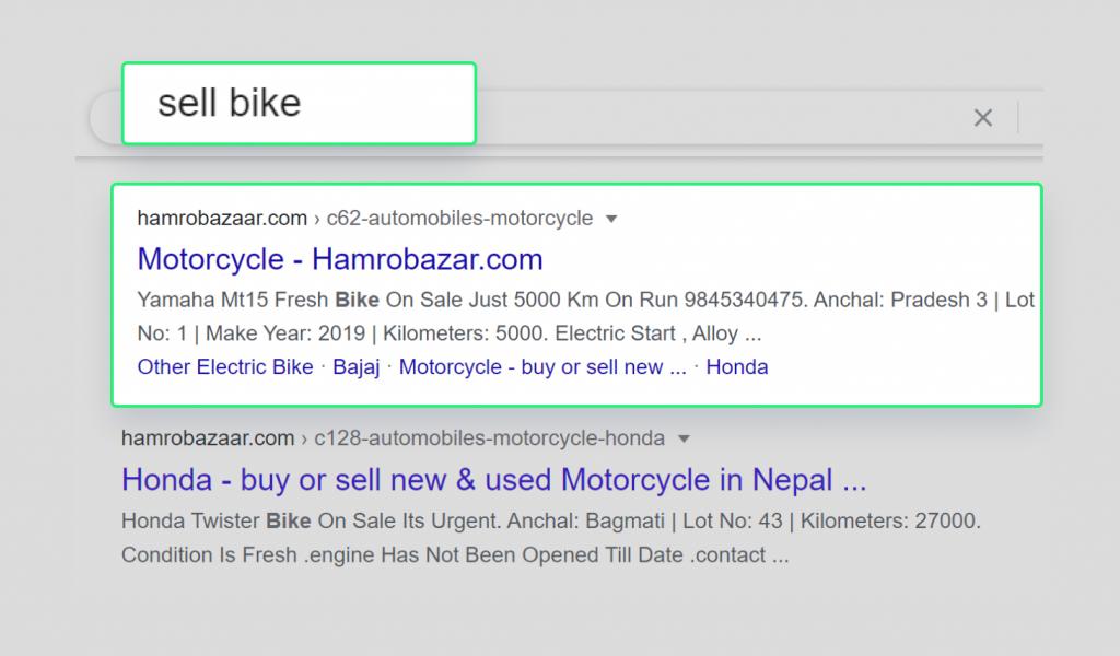 Hamrobazar is ranking for keyword sell bike