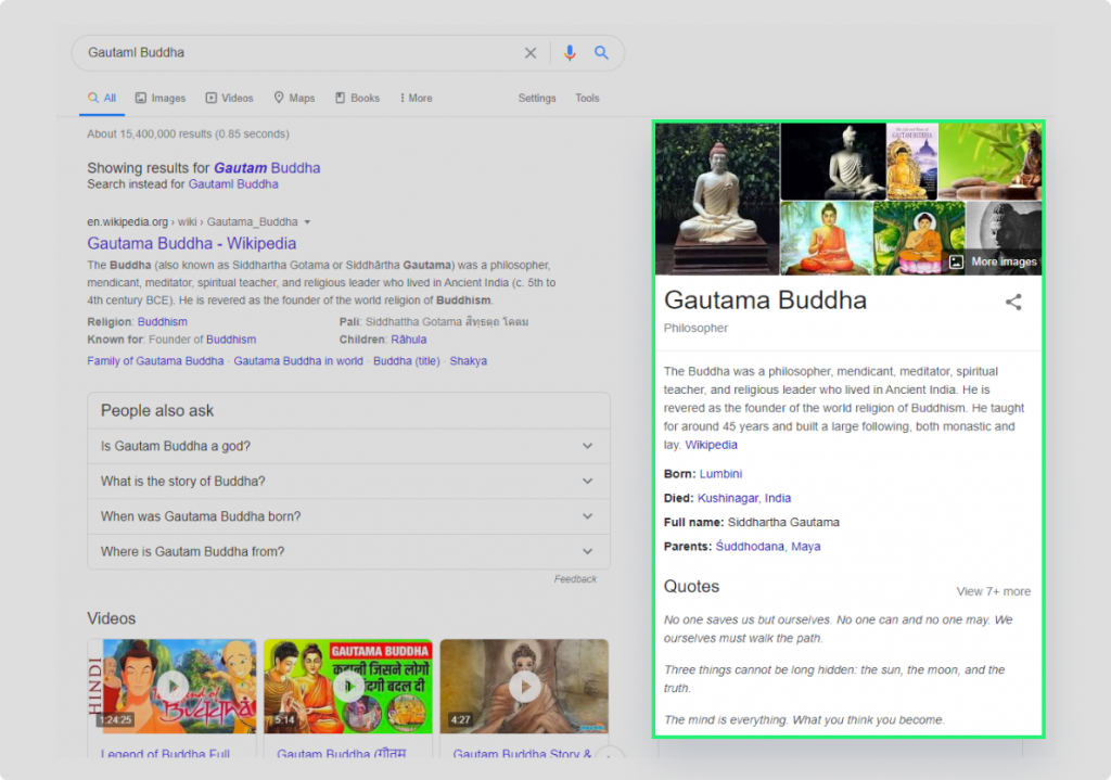 Representing the knowledge panel in SERP for query Gautam Buddha