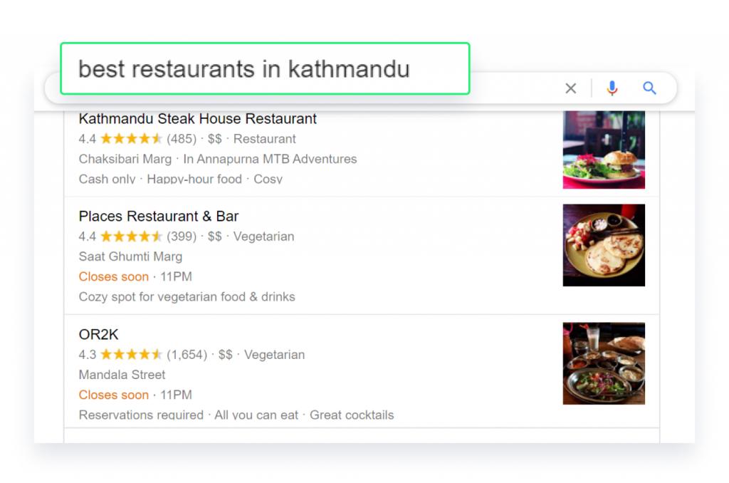 Local business listing for best restaurants in Kathmandu