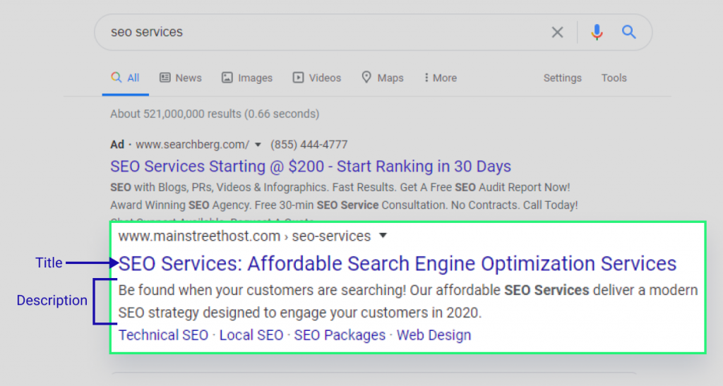 Showing meta title and meta description in Google SERP