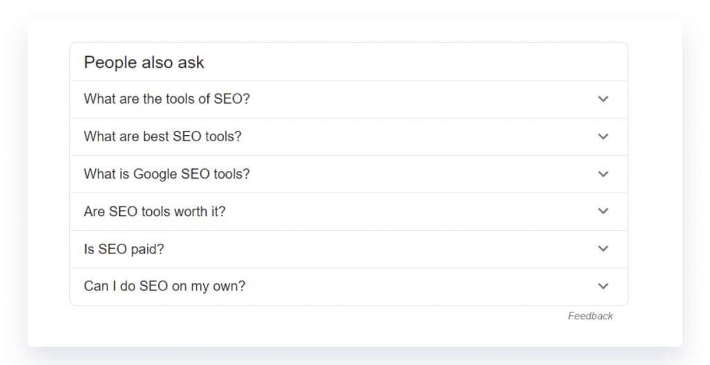 Google's People Also Ask section shows related terms for the query seo tool